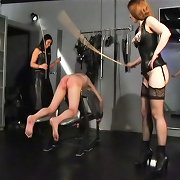 The restrained man getting hard cbt and flogging