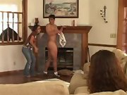 An unsuspecting guy gets stripped and teased in CFNM style