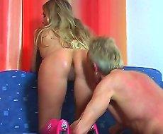 Blonde punishes malesub
