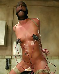 Julie Night gets a milk enema and electro nipple torture