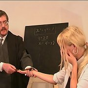 Blonde teen was punished in the class