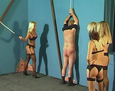 Three mistresses punished man by the cane