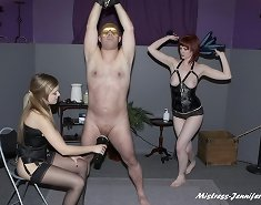 Two dominas tormented a malesub