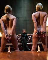 Two promiscuous sluts get captured, punished and fucked for messing with the wrong bitch's boyfriend