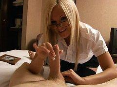 Blonde secretary gives her boss a harsh handjob