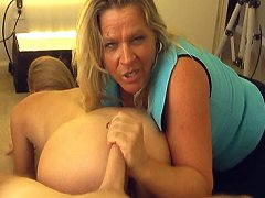 The two housewives begin sucking and jacking. Mr..