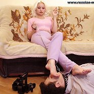 Blonde masterful housewife trampling and humiliating her husband