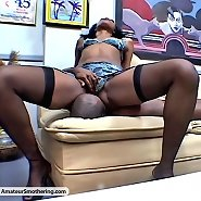 Hardbodied Ebony babe squats on her mans face