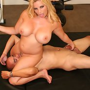 Big blonde mistress with great tits and round ass sat on man\'s face