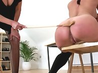 Leia over knee spanked by sonia
