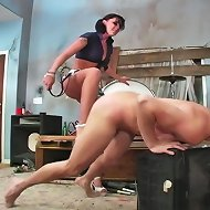 Sexy Chayse Evans kicks and punches her slave in the balls for her masochistic pleasure