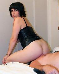 Brunette dominatrix on slave