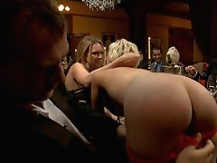 Hot young blonde services all the guest of a dinner party with her mouth, pussy, and ass!