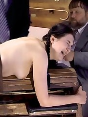 Tied down to a drilling bank for getting her stem spanked black and blue