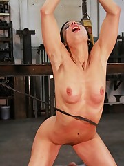 Hot bitch is whipped to orgasm