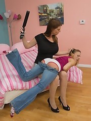 Brunette spanked at work off out of one's mind her boss
