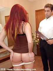 Bare bottom over-the-knee spanking for sad successor Samantha Woodley