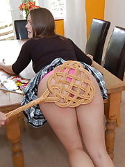 Spreadeagled on a unify table, see Valerie's booty galumph from 30 with a paddle