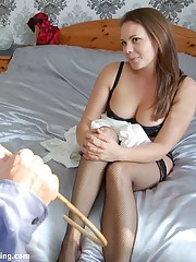 Adrienne's underclothing modeling earns a 47-stroke bare bottom spanking there a belt