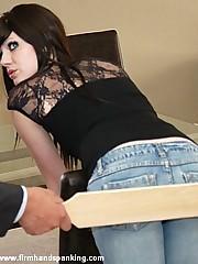 12 strokes of the cane for pretty senior Belinda Lawson stripes her bottom