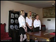 Three female bottoms are ready for whipping