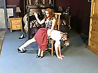Cute Young Girl is Spanked Over the Knee