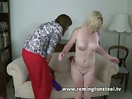Tattoed blonde mature bbw was paddled