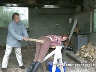 Caned in the woodshed