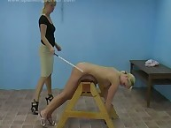 Caning act with 2 hot golden-haired babes