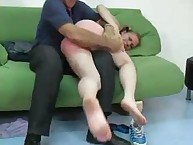 Naked Barefoot Teen Gets Ass Spanked Red
