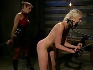 The pery gets brutally punished and and fucked by lesbian dominatrix