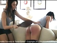 Tanya tests Jennifer's submissive relative to a shorn submissive electrocution