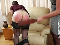 Strict old woman punished an young live-in lover away from a rod added to a paddle.