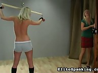 Blond girls intricate crucial whipping
