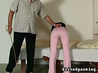 Naughty girl is awaken with cane