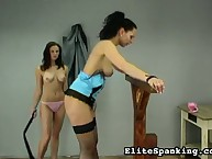 Hot brunettes practicing habit flogging