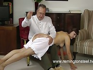 Brunet house girl was spanked rough