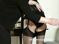Perverted granny spanked older blonde