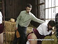 Teen brunettes were punished by paddle