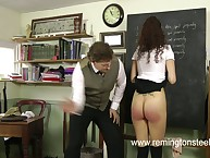 Rough teacher spanked brunet schoolgirl