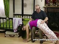 Perverted daddy spanked wonderful girl
