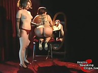Prurient girl has sadistic spanks on her nates