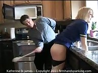 A spanking and 45 with a wooden spoon teach Katherine St James a hard lesson