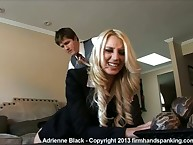 Blond schoolgirl paddled by boss