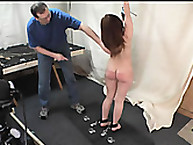 Stunning wench gets her bottom flagellated
