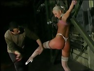 Crucified blonde getting pussy tortured