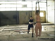 Hardcore bullwhiping also breast punishment
