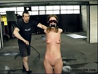 Tits whipping for gagged blindfolded teen slut