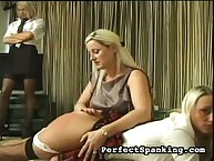 Blond schoolgirls learning spanking lesson