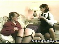 Three lesbians practicing ass spanking